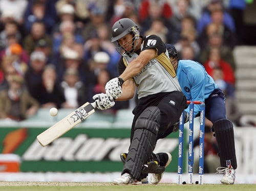 Ross Taylor of New Zealand bats during their ICC World Twenty20 match against Scotland at The Oval in London. (AFP Photo)