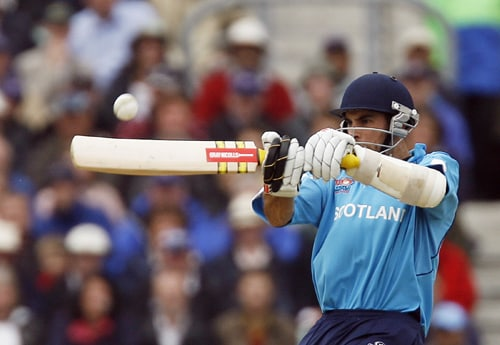 Kyle Coetzer of Scotland hits the ball during their ICC World Twenty20 match against New Zealand at The Oval in London. (AFP Photo)