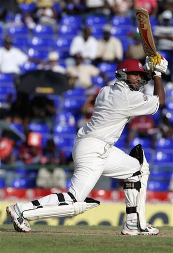 West Indies batsman Ramnaresh Sarwan bats against India on the first day of the third cricket test match at St. Kitts.