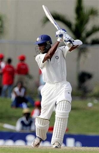 India's batsman Wasim Jaffer hits a boundary against the West Indies on the third day of the third cricket Test match at Warner Park in Basseterre, St Kitts, Saturday, June 24, 2006. (AP Photo/Lynne Sladky)