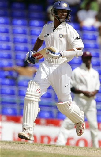 India's captain Rahul Dravid runs between the wickets on the fifth day of the third cricket test match against the West Indies at St Kitts.