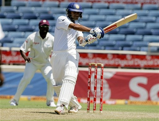India's captain Rahul Dravid bats against the West Indies during the fourth cricket Test match at Kingston.