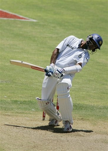 India's captain Rahul Dravid bends to avoid a bouncer bowled by the West Indies Corey Collymore during the fourth cricket Test at Kingston.