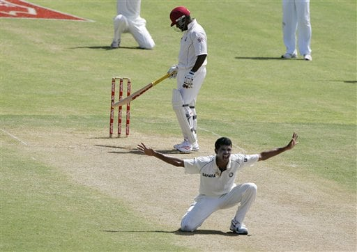 India's bowler S Sreesanth, front, makes an unsuccessfull appeal for LBW on west Indies batsman Brian Lara, rear, on the second day of the fourth cricket Test at Kingston.