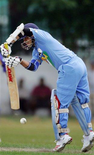 Indian cricketer Sachin Tendulkar bats during a practice match against Sri Lanka A, in Colombo.
