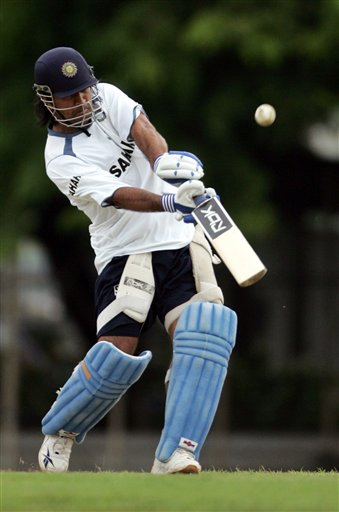 Indian cricketer Mahender Singh Dhoni bats during a practice session in Colombo.