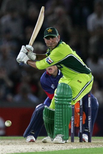 Pakistan's Younis Khan prepares to hit a ball from England's Kevin Pietersen (not in picture) during the third ODI at Rose Bowl in Southampton on Tuesday.