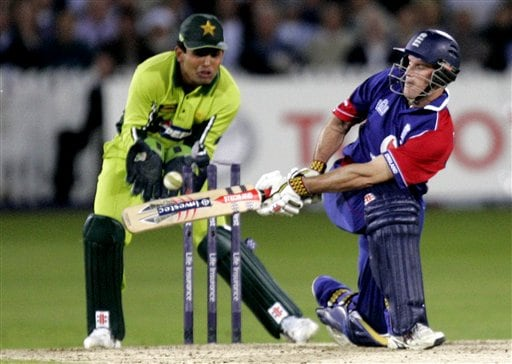 England captain Andrew Strauss is bowled by Mohammad Hafeez, out of picture, during the fourth ODI at Trent Bridge Cricket Ground, Nottingham on Friday.