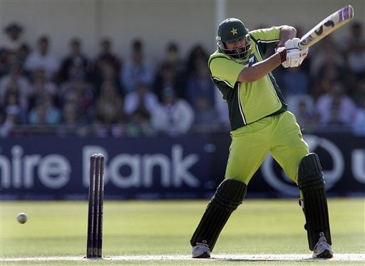 Pakistan captain Inzamam-Ul-Haq hits a four against England during the fourth ODI at Trent Bridge Cricket Ground, Nottingham on Friday.