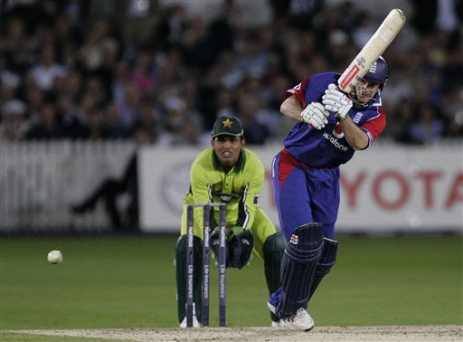 England captain Andrew Strauss plays a shot during the fourth ODI at Trent Bridge Cricket Ground, Nottingham on Friday.