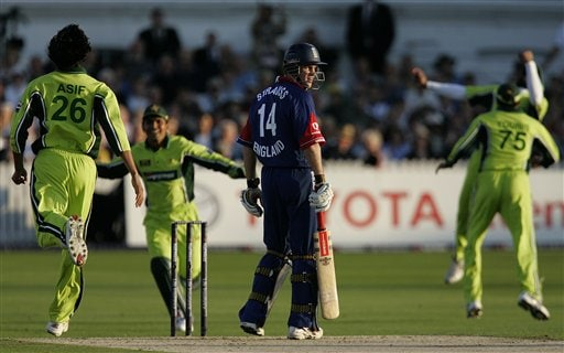 England captain Andrew Strauss looks toward the umpire as Pakistan players think they have claimed his wicket, only for the umpires to give a not out decision during the fourth ODI at Trent Bridge Cricket Ground, Nottingham on Friday.