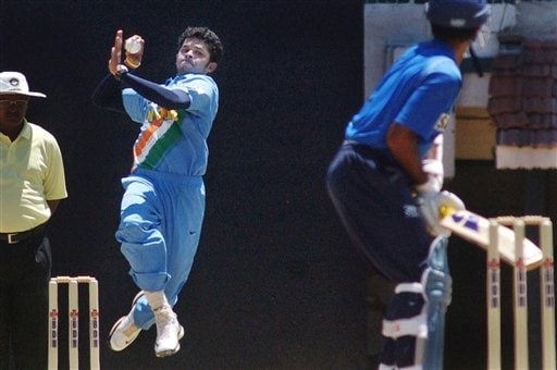 Indian pacer S Sreesanth bowls during a practice match as the Indian cricket team prepares for the tri-nation series in Malaysia.