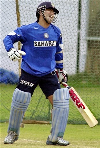 Master Blaster Sachin Tendulkar reacts after playing a shot during a training camp as the Indian cricket team prepares for the tri-nation series in Malaysia.