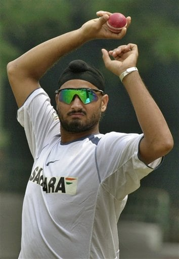 Indian off spinner Harbhajan Singh prepares to bowl during the training camp as the Indian team prepares for the tri-nation series in Malaysia.