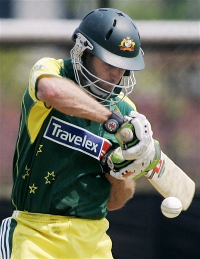 Australia's Simon Katich guides the ball on a cut shot against the West Indies in their match in Kuala Lumpur on Tuesday.