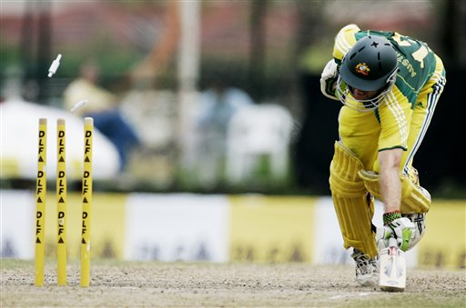 Australian batsman Simon Katich narrowly avoids being run out during their final of the tri-nations series against the West Indies in Kuala Lumpur on Sunday.