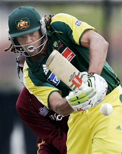 Australian batsman Andrew Symonds plays a shot against the West Inidies in their final of the tri-nations series in Kuala Lumpur on Sunday.