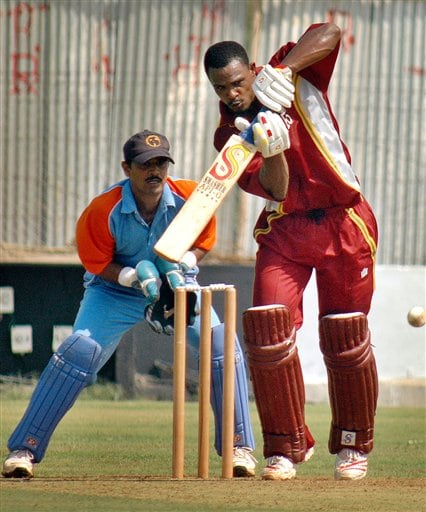 West Indies cricketer Runako Morton bats during a practice match against GCA President XI ahead of the ICC Champions Trophy in Ahmedabad.