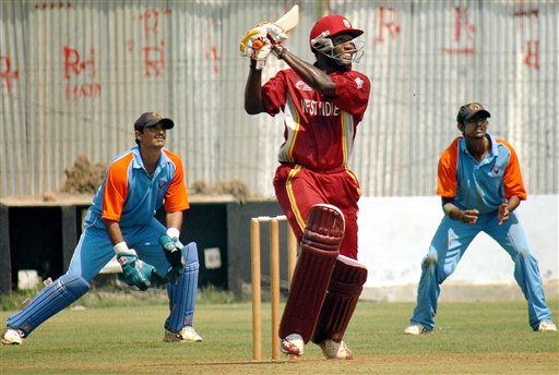 Wavell Hinds of West Indies plays a shot during a practice match against GCA President XI ahead of ICC Champions Trophy in Ahmedabad.