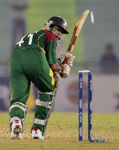 Bails for Bangladesh's Saqibul Hasan goes off on the delivery of Sri Lanka's Lasith Malinga during the ICC Champions Trophy ODI match in Mohali on Saturday.