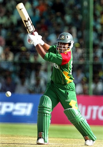 Bangladesh's Shahriar Nafeez bats during the one-day international cricket match against West Indies for the ICC Champions Trophy, in Jaipur on Wednesday.