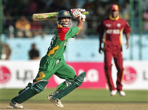 Bangladesh's Aftab Ahmed bats during the one-day international cricket match against West Indies for the ICC Champions Trophy, in Jaipur on Wednesday.