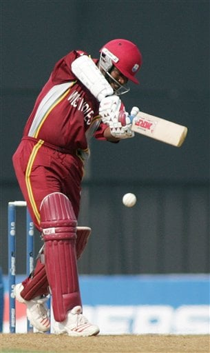 West Indian captain Brian Lara bats in the Champion's Trophy cricket match against Sri Lanka, in Mumbai on Saturday.