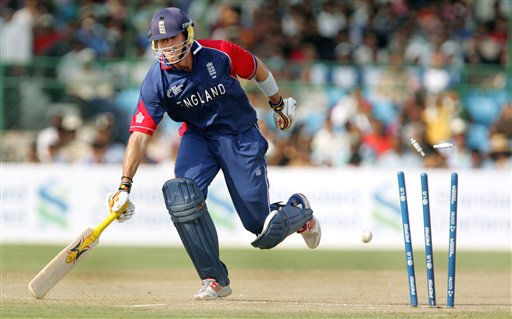Bails for England's Kevin Pietersen goes off after an unsuccessfull attempt of run out during the one day international cricket match for the ICC Champions Trophy in Jaipur on Sunday.
