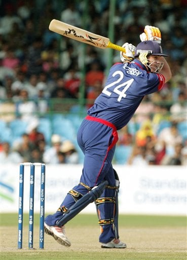 England's Kevin Pietersen plays a shot against India during the one day international cricket match for the ICC Champions Trophy in Jaipur on Sunday.