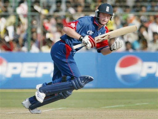 England's Paul Collingwood bats against India during the one-day international cricket match for the ICC Champions Trophy in Jaipur on Sunday.