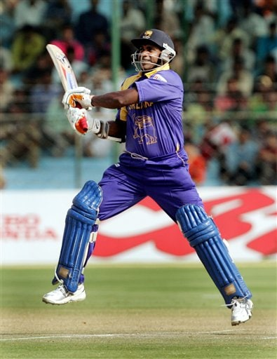 Sri Lankan cricketer Sanath Jayasuriya plays a shot against Pakistan during the one-day international cricket match for the ICC Champions Trophy in Jaipur on Tuesday.