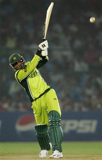 Pakistan's Abdul Razzaq plays a shot against Sri Lanka during the one day international cricket match for the ICC Champions Trophy in Jaipur on Tuesday.