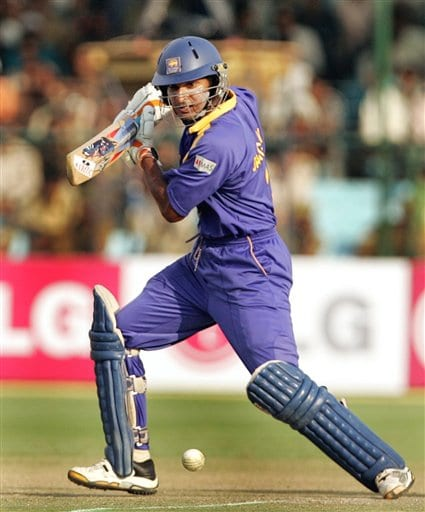 Sri Lanka's Kumar Sangakara plays a shot against Pakistan during the one day international cricket match for the ICC Champions Trophy in Jaipur on Tuesday.