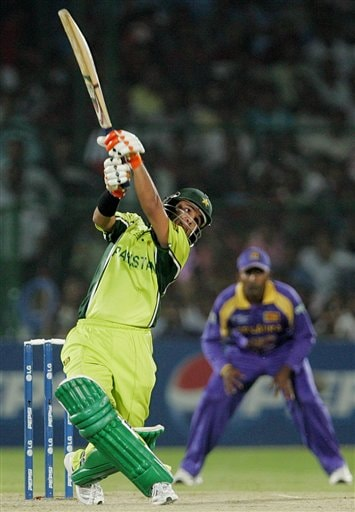 Pakistan's Imran Farhat plays a shot against Sri Lanka during the one day international cricket match for the ICC Champions Trophy in Jaipur on Tuesday.