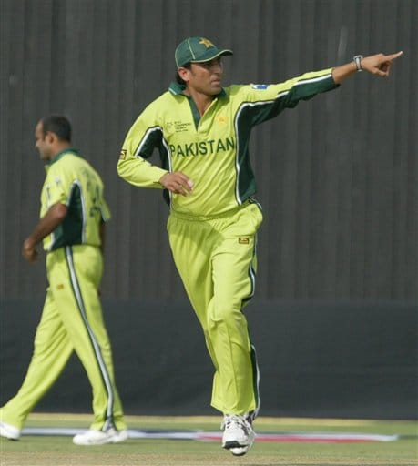 Pakistan captain Yunis Khan directs his team mates during the one day international cricket match against Sri Lanka for the ICC Champions Trophy in Jaipur on Tuesday.