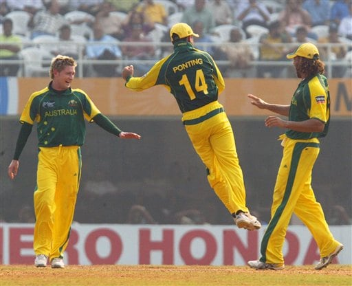 Australia's Ricky Pointing,center celebrates the dismissal of West Indies' Ramnaresh Sarwan in the one day international cricket match for the ICC Champions Trophy in Mumbai