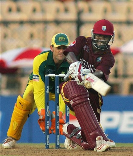 West Indian captain Brian Lara sweeps a ball against Australia in their one day international cricket match in Mumbai