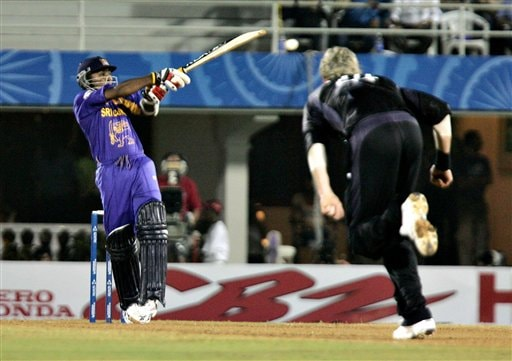 Sri Lankan cricket captain Mahela Jayawardene hooks a ball off New Zealand bowler Jacob Oram during the one-day international cricket tournament for the ICC Champions Trophy in Mumbai on Friday.