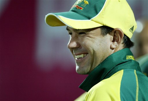 Australian cricket captain Ricky Ponting smiles after winning the match against England by 6 wickets during the one-day international cricket match for the ICC Champions Trophy in Jaipur, India, Saturday, October 21, 2006. (AP Photo/Bikas Das)
