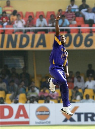 Sri Lanaka's Lasith Malinga exults after claiming the wicket of South Africa's Herschelle Gibbs, unseen, in their ICC Champions Trophy cricket tournament match in Ahmadabad on Tuesday.