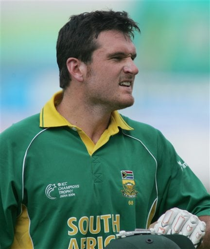South African cricket team captain Graeme Smith reacts after being out against Sri Lanka in Ahmadabad on Tuesday.