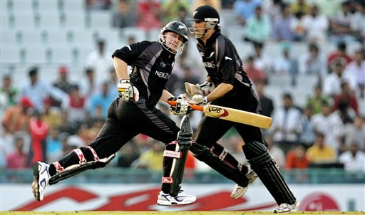 New Zealand's Scott Styris, left, and Stephen Fleming run between the wickets against Pakistan during the one day international cricket match for the ICC Champions Trophy in Mohali
