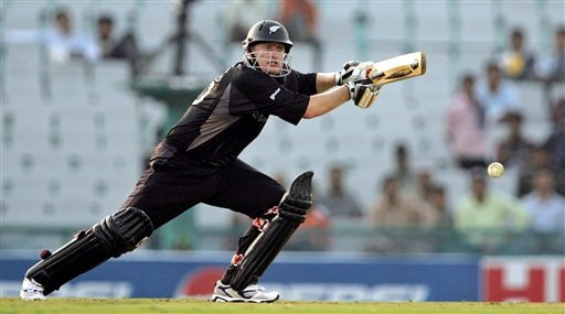 New Zealand's Scott Styris plays a shot against Pakistan during the one day international cricket match for the ICC Champions Trophy in Mohali