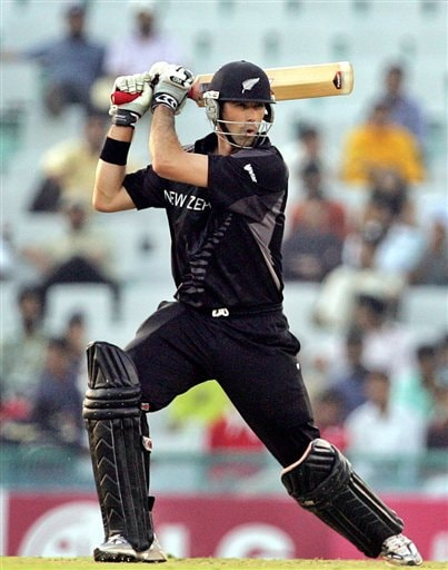 New Zealand's Stephen Fleming plays a shot against Pakistan during the one day international cricket match for the ICC Champions Trophy in Mohali