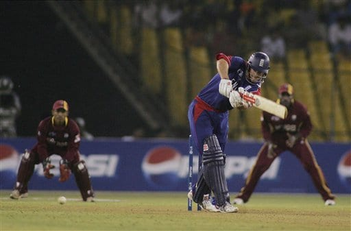 England batsman Andrew Strauss strikes the ball on the on side in the ICC Champions Trophy cricket one-day match against West Indies in Ahmedabad on Saturday.