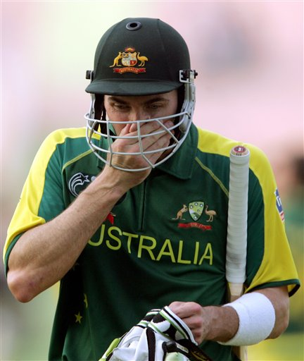 Australia's Damaien Martyn reacts after New Zeland's Kyle Mills, unseen took his wicket during the one day international cricket semi final match for the ICC Champions Trophny in Mohali