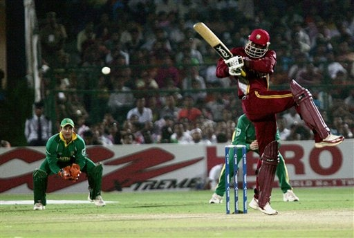 West Indies' batsman Chris Gayle pulls a ball of South African bowler Makhaya Ntini, not in picture, in the second semi-final of the ICC Trophy cricket tournament in Jaipur