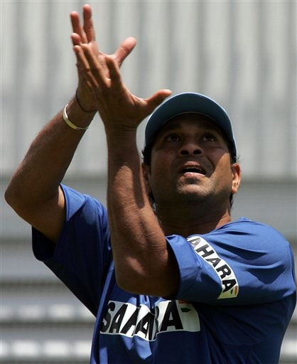 India's cricket player Sachin Tendulkar, awaits to make a catch during the fielding practice in Benoni, South Africa.