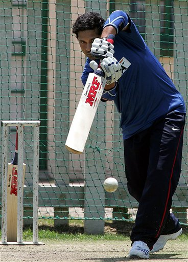 India's cricket player Sachin Tendulkar, watches his shot during the net practice in Benoni, South Africa.