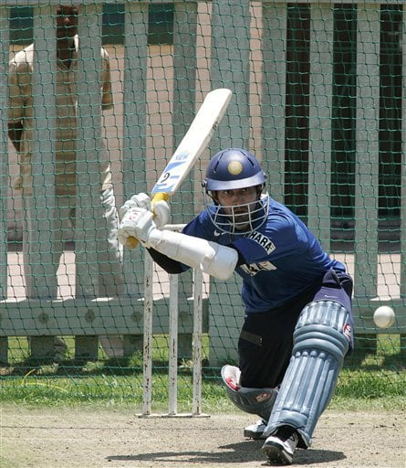India's cricket player Dinesh Karthik, bats during the net practice in Benoni, South Africa.